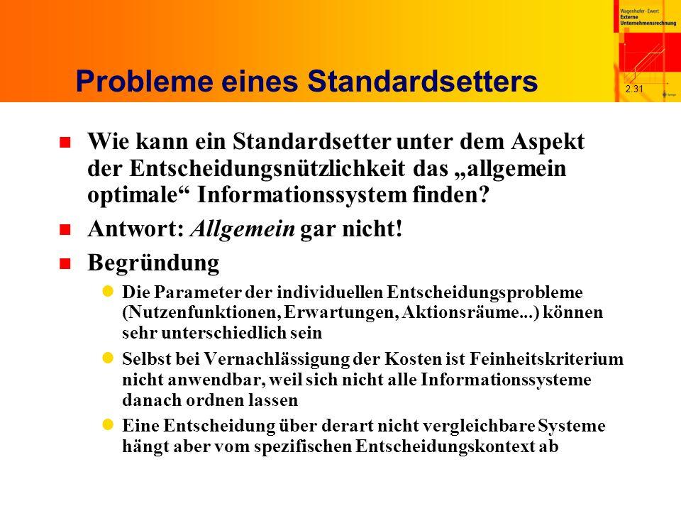 2.31 Probleme eines Standardsetters n Wie kann ein Standardsetter unter dem Aspekt der Entscheidungsnützlichkeit das allgemein optimale Informationssystem finden.