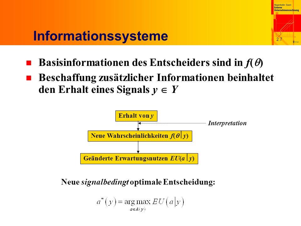 2.7 Informationssysteme n Basisinformationen des Entscheiders sind in f( ) n Beschaffung zusätzlicher Informationen beinhaltet den Erhalt eines Signals y Y Neue signalbedingt optimale Entscheidung: Erhalt von y Neue Wahrscheinlichkeiten f( y) Geänderte Erwartungsnutzen EU(a y) Interpretation