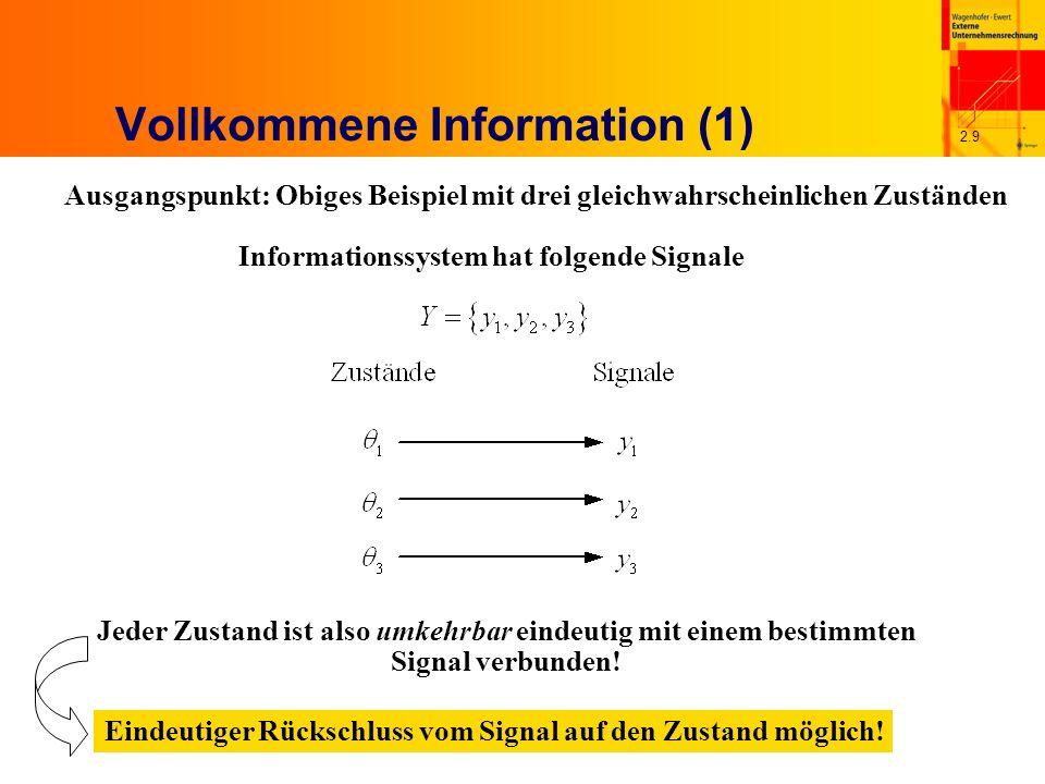 2.9 Vollkommene Information (1) Ausgangspunkt: Obiges Beispiel mit drei gleichwahrscheinlichen Zuständen Informationssystem hat folgende Signale Jeder Zustand ist also umkehrbar eindeutig mit einem bestimmten Signal verbunden.