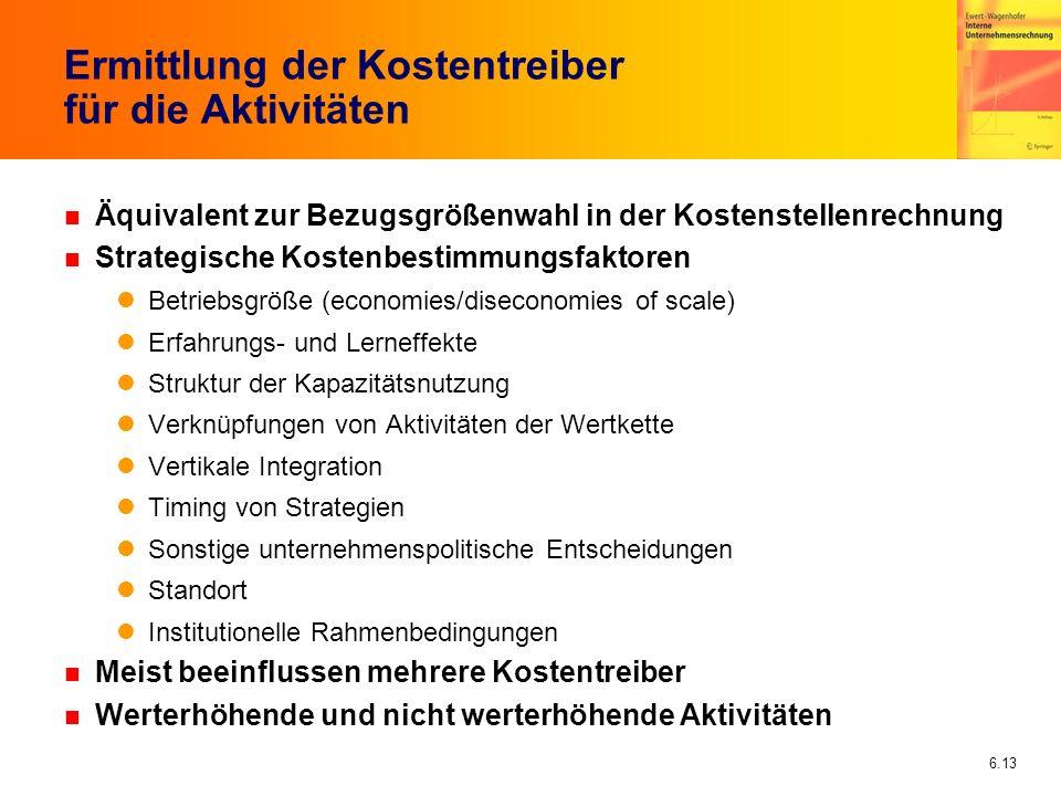 6.13 Ermittlung der Kostentreiber für die Aktivitäten n Äquivalent zur Bezugsgrößenwahl in der Kostenstellenrechnung n Strategische Kostenbestimmungsf