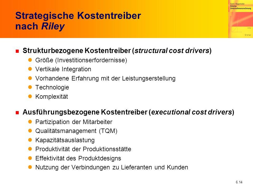 6.14 Strategische Kostentreiber nach Riley n Strukturbezogene Kostentreiber (structural cost drivers) Größe (Investitionserfordernisse) Vertikale Inte