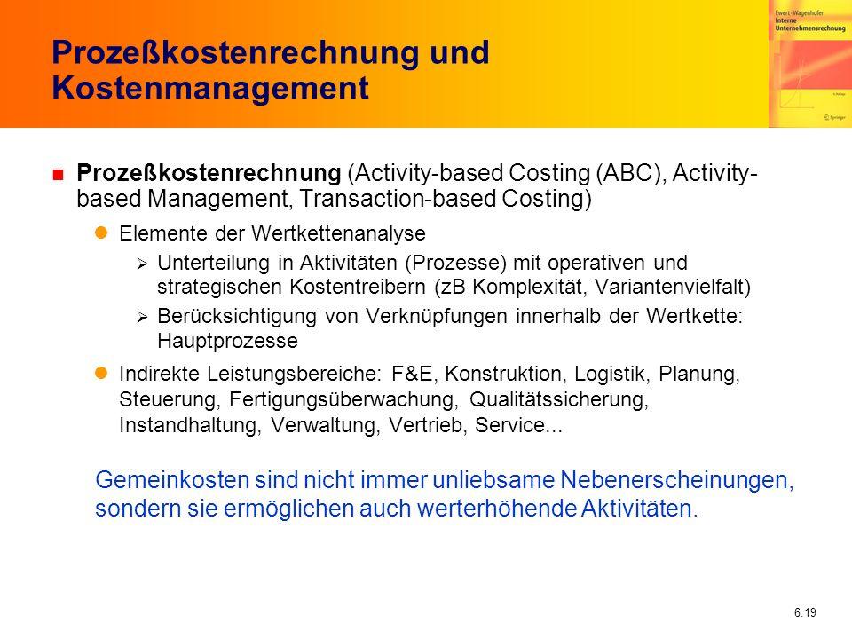 6.19 Prozeßkostenrechnung und Kostenmanagement n Prozeßkostenrechnung (Activity-based Costing (ABC), Activity- based Management, Transaction-based Cos