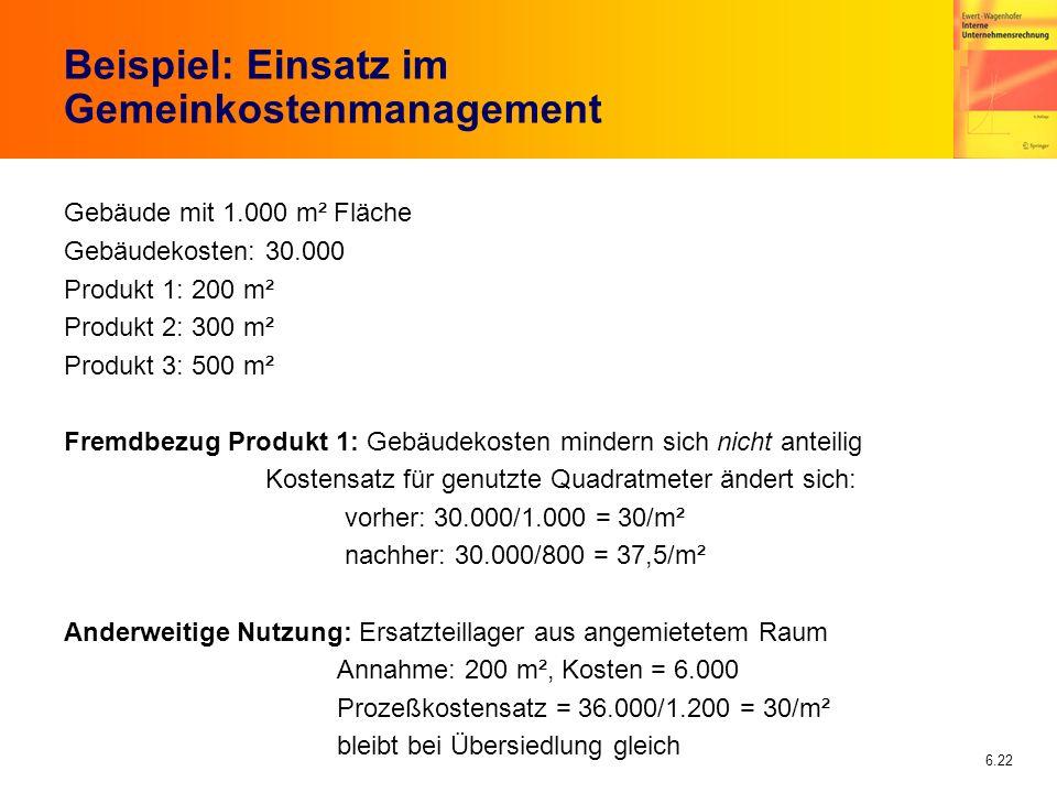 6.22 Beispiel: Einsatz im Gemeinkostenmanagement Gebäude mit 1.000 m² Fläche Gebäudekosten: 30.000 Produkt 1: 200 m² Produkt 2: 300 m² Produkt 3: 500