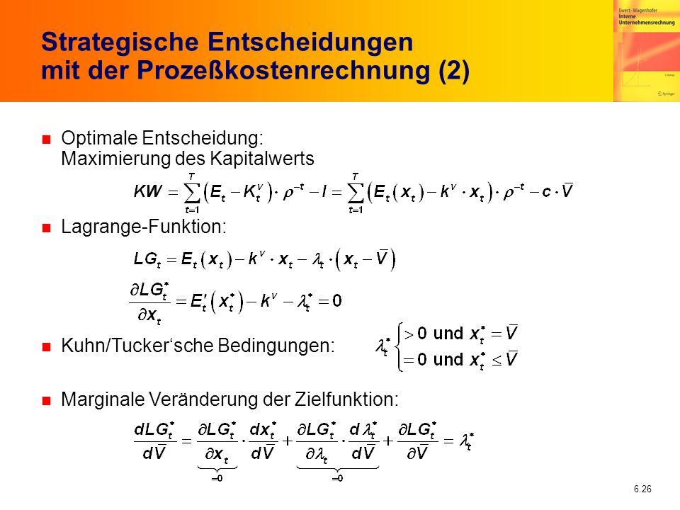 6.26 n Optimale Entscheidung: Maximierung des Kapitalwerts n Lagrange-Funktion: n Kuhn/Tuckersche Bedingungen: n Marginale Veränderung der Zielfunktio