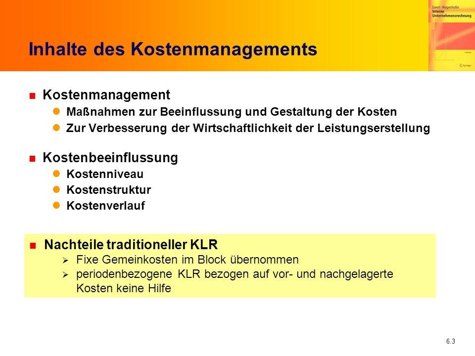 6.4 Kostenmanagement in der Praxis n Befragung von 98 deutschen Großunternehmen: Ziele des Kostenmanagements (Franz/Kajüter 2002) 19962001 Kostensenkung5,55,9 Erhöhung der Kostentransparenz 5,04,7 Stärkung des Kostenbewußtseins 5,44,6 Identifikation der Kostentreiber 5,44,6 Optimierung der Kostenstruktur (fix/variabel) 3,74,1 Vermeidung progressiver Kostenverläufe 3,02,5 Förderung degressiver Kostenverläufe 2,42,6 (1 = geringste Bedeutung, 7 = höchste Bedeutung)