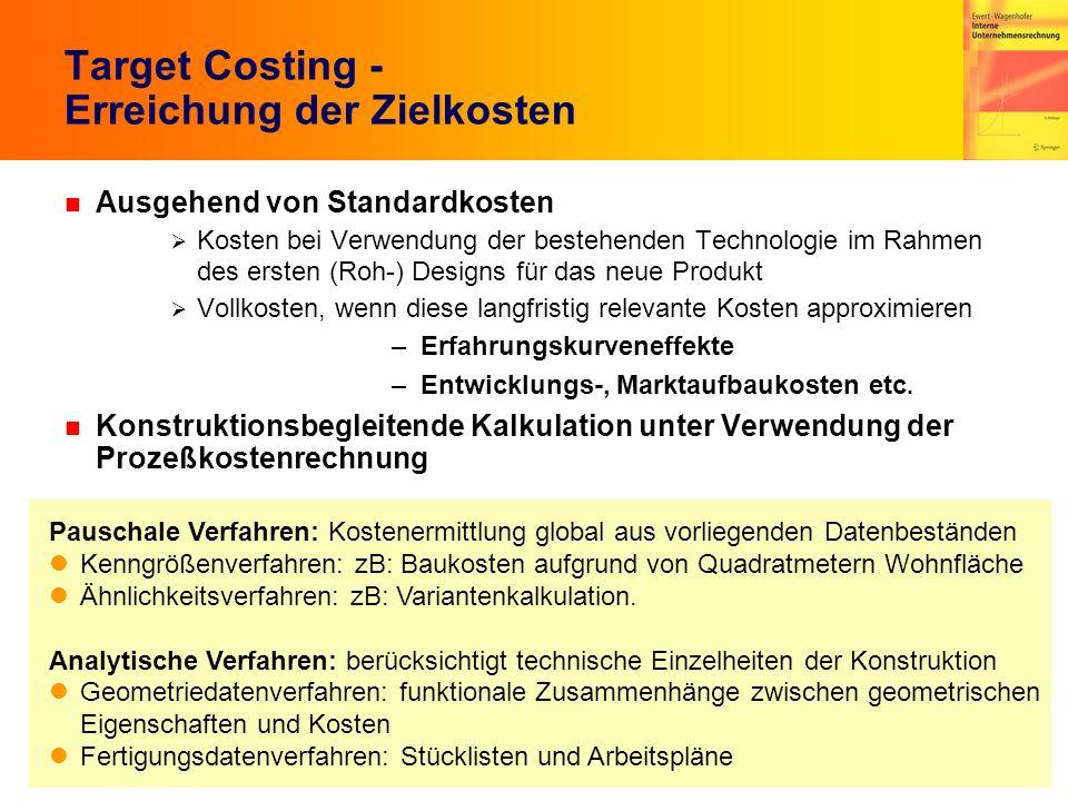 6.34 Target Costing - Erreichung der Zielkosten n Ausgehend von Standardkosten Kosten bei Verwendung der bestehenden Technologie im Rahmen des ersten
