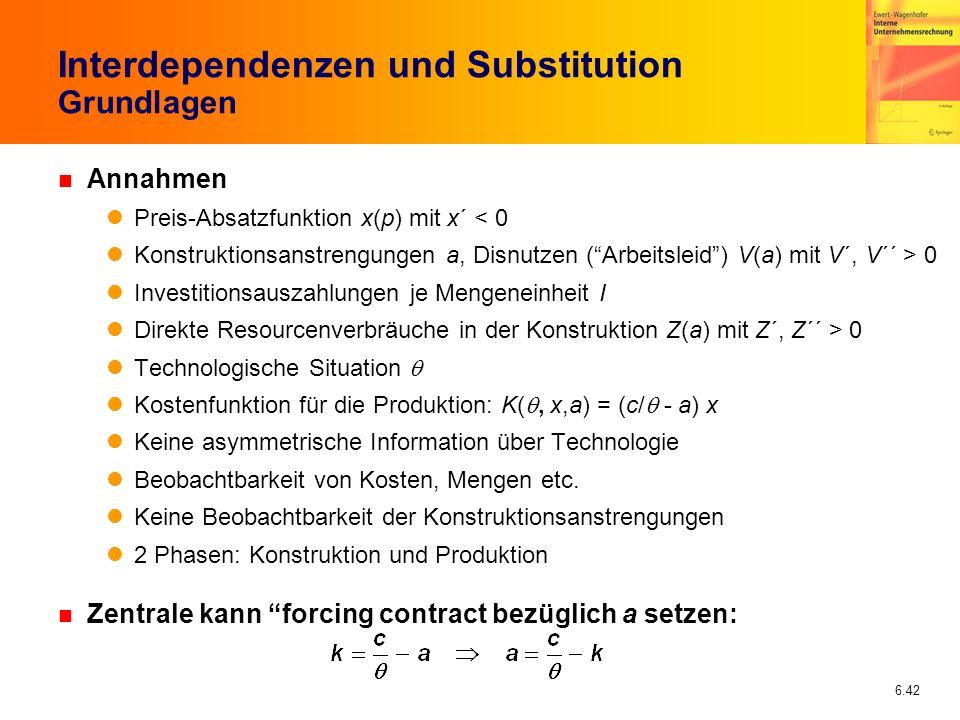 6.42 Interdependenzen und Substitution Grundlagen n Annahmen Preis-Absatzfunktion x(p) mit x´ < 0 Konstruktionsanstrengungen a, Disnutzen (Arbeitsleid