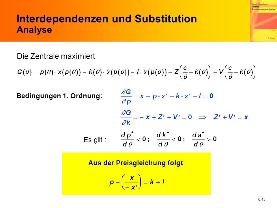 6.43 Interdependenzen und Substitution Analyse Die Zentrale maximiert Bedingungen 1. Ordnung: Es gilt : Aus der Preisgleichung folgt