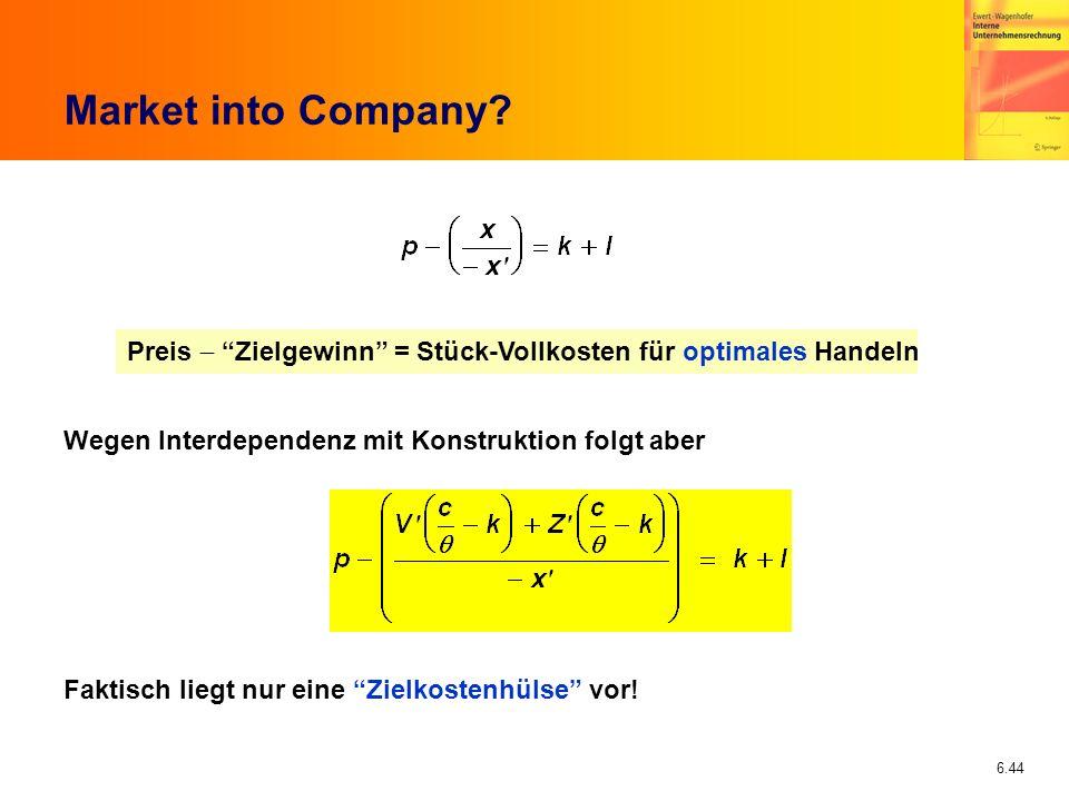 6.44 Market into Company? Preis Zielgewinn = Stück-Vollkosten für optimales Handeln Wegen Interdependenz mit Konstruktion folgt aber Faktisch liegt nu