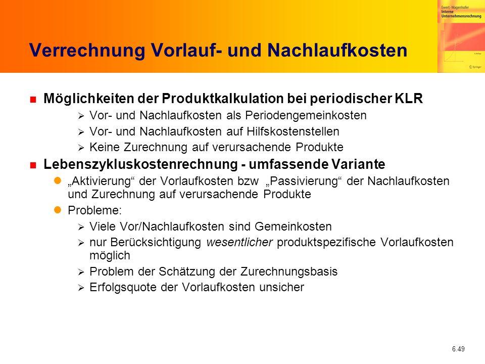 6.49 Verrechnung Vorlauf- und Nachlaufkosten n Möglichkeiten der Produktkalkulation bei periodischer KLR Vor- und Nachlaufkosten als Periodengemeinkos