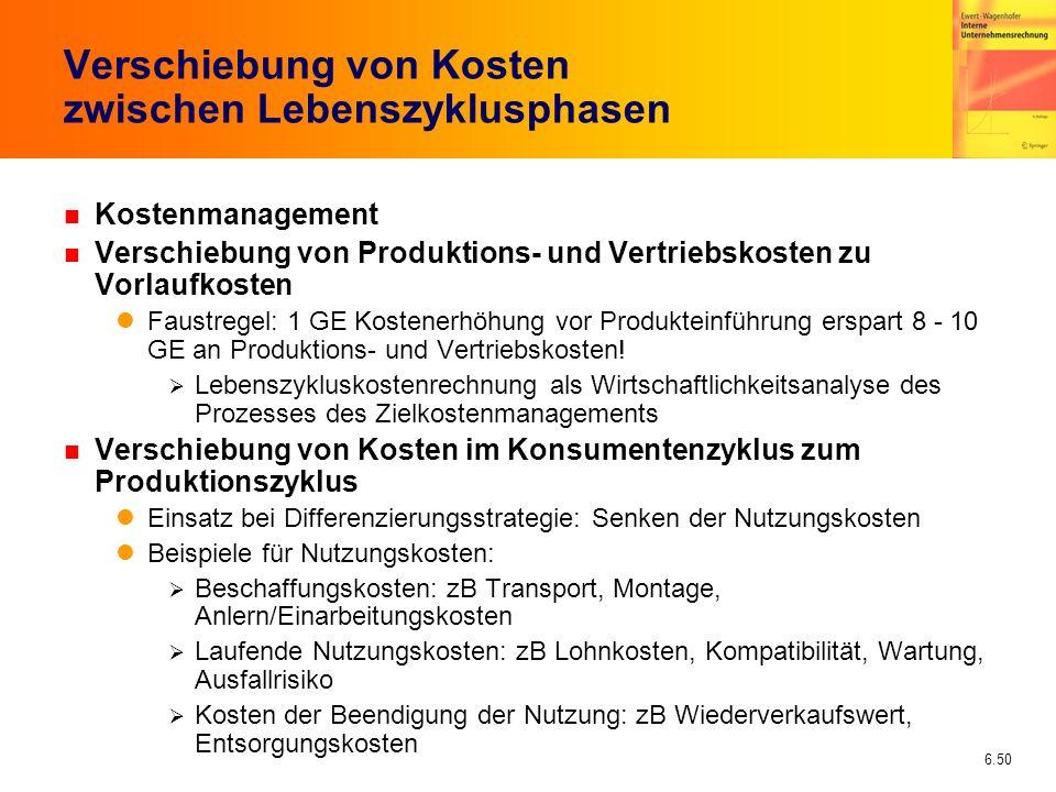 6.50 Verschiebung von Kosten zwischen Lebenszyklusphasen n Kostenmanagement n Verschiebung von Produktions- und Vertriebskosten zu Vorlaufkosten Faust
