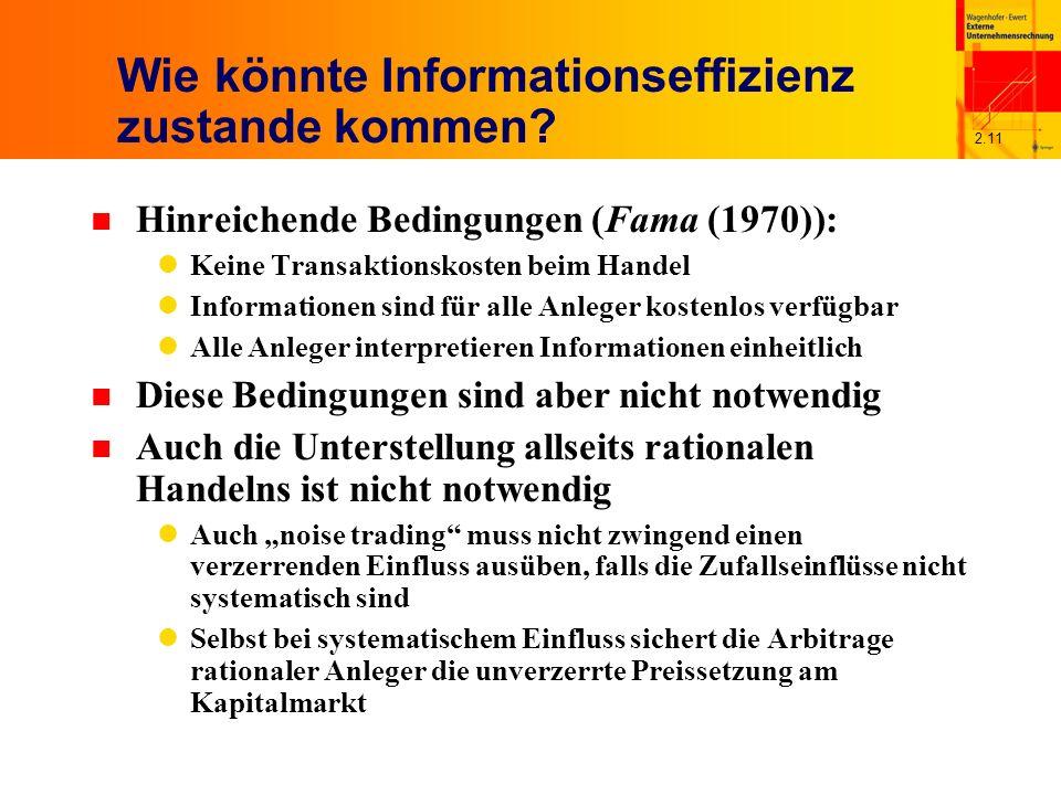 2.11 Wie könnte Informationseffizienz zustande kommen.