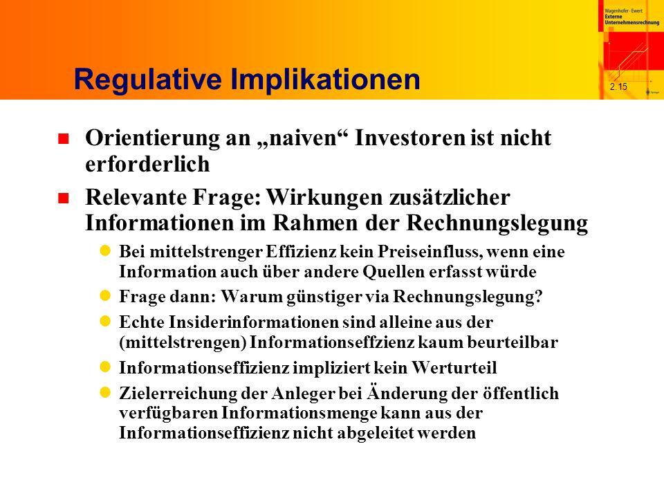 2.15 Regulative Implikationen n Orientierung an naiven Investoren ist nicht erforderlich n Relevante Frage: Wirkungen zusätzlicher Informationen im Rahmen der Rechnungslegung Bei mittelstrenger Effizienz kein Preiseinfluss, wenn eine Information auch über andere Quellen erfasst würde Frage dann: Warum günstiger via Rechnungslegung.