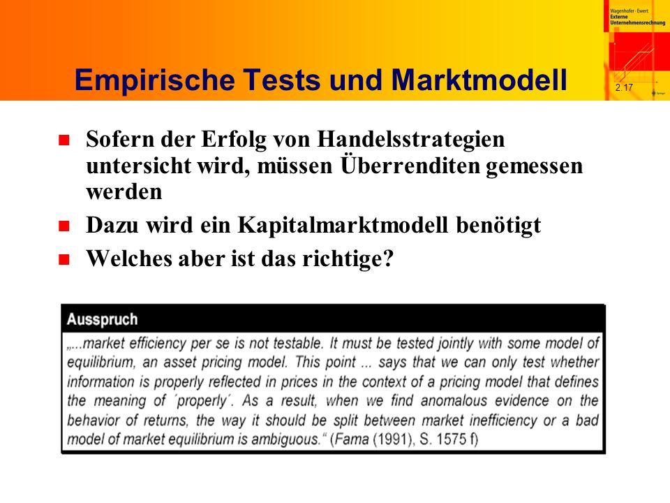 2.17 Empirische Tests und Marktmodell n Sofern der Erfolg von Handelsstrategien untersicht wird, müssen Überrenditen gemessen werden n Dazu wird ein Kapitalmarktmodell benötigt n Welches aber ist das richtige