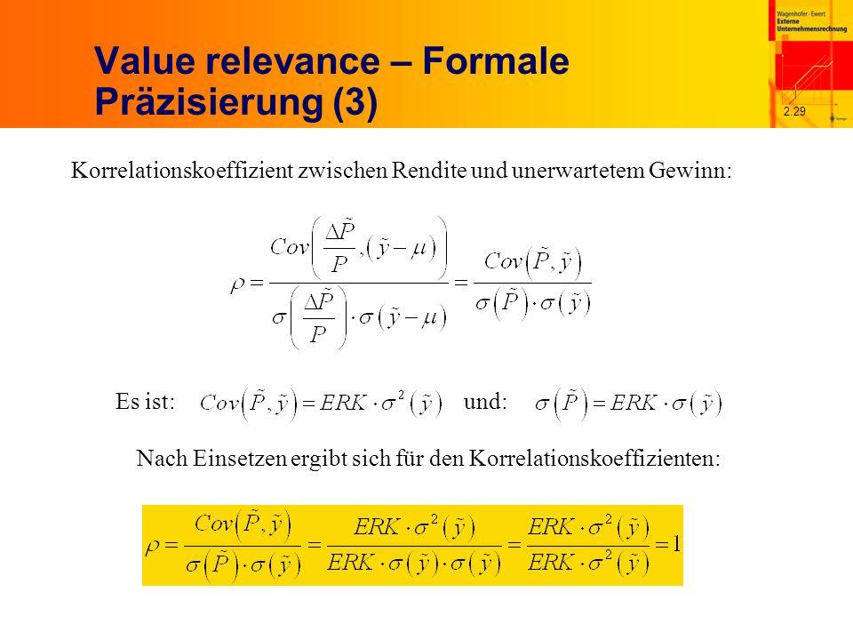 2.29 Value relevance – Formale Präzisierung (3) Korrelationskoeffizient zwischen Rendite und unerwartetem Gewinn: Es ist:und: Nach Einsetzen ergibt sich für den Korrelationskoeffizienten: