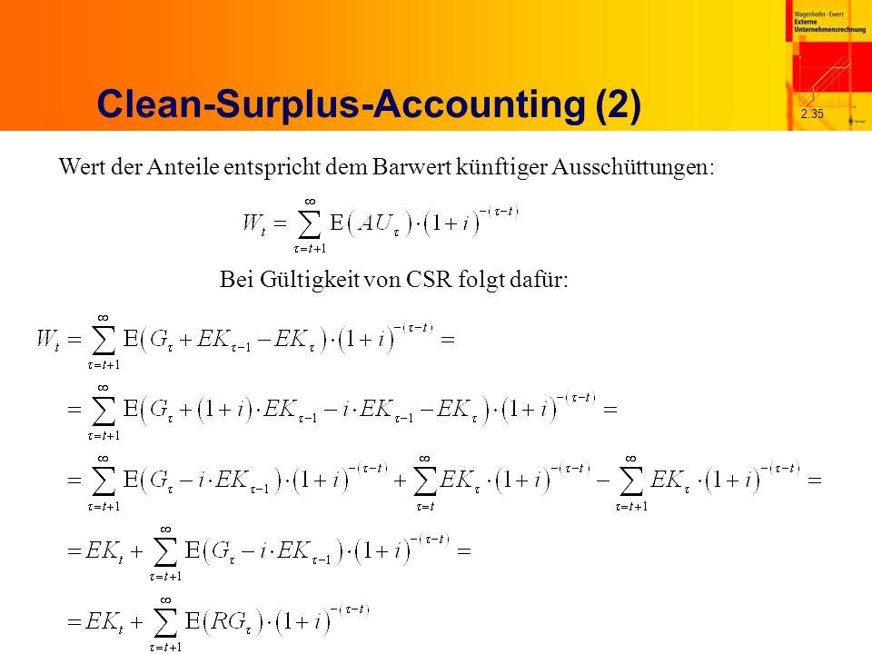 2.35 Clean-Surplus-Accounting (2) Wert der Anteile entspricht dem Barwert künftiger Ausschüttungen: Bei Gültigkeit von CSR folgt dafür: