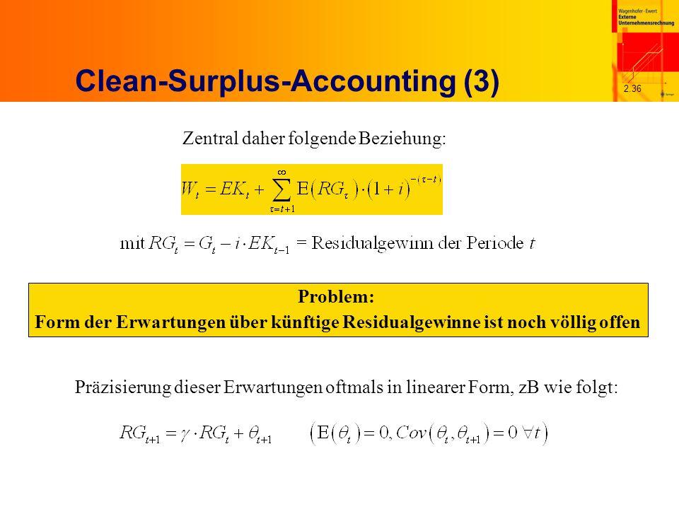 2.36 Clean-Surplus-Accounting (3) Zentral daher folgende Beziehung: Problem: Form der Erwartungen über künftige Residualgewinne ist noch völlig offen Präzisierung dieser Erwartungen oftmals in linearer Form, zB wie folgt: