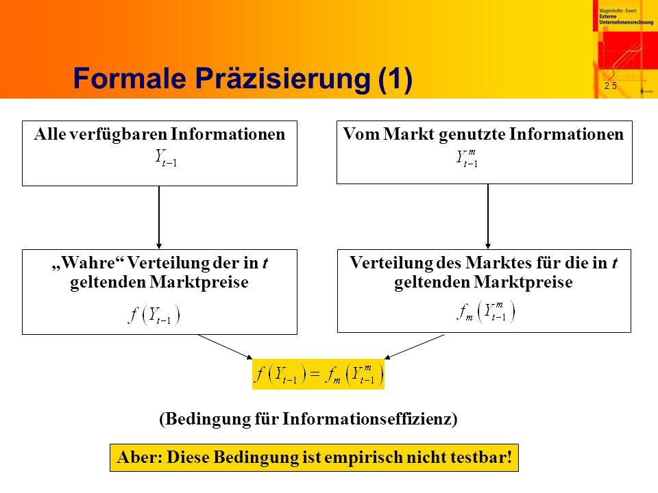 2.5 Formale Präzisierung (1) Vom Markt genutzte Informationen Verteilung des Marktes für die in t geltenden Marktpreise (Bedingung für Informationseffizienz) Aber: Diese Bedingung ist empirisch nicht testbar.