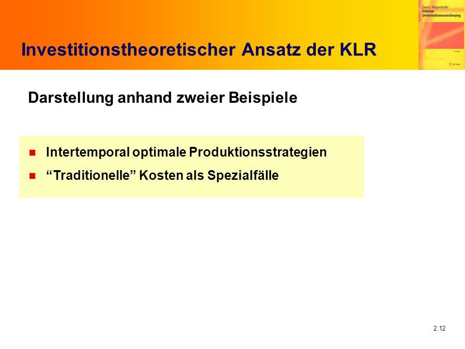 2.12 Investitionstheoretischer Ansatz der KLR Darstellung anhand zweier Beispiele n Intertemporal optimale Produktionsstrategien n Traditionelle Koste