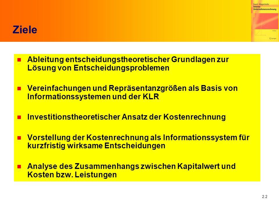2.33 Lücke-Theorem n Voraussetzung: Kongruenzprinzip Clean Surplus Condition n Residualgewinn