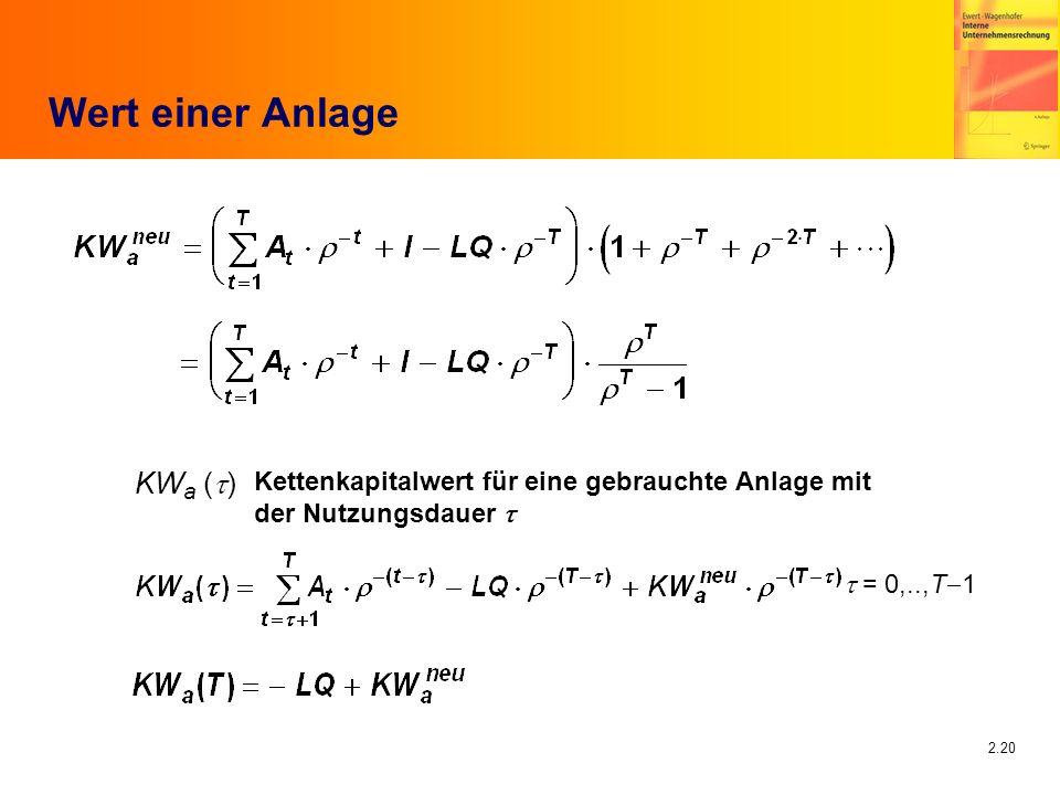 2.20 Wert einer Anlage Kettenkapitalwert für eine gebrauchte Anlage mit der Nutzungsdauer = 0,..,T 1 KW a ( )