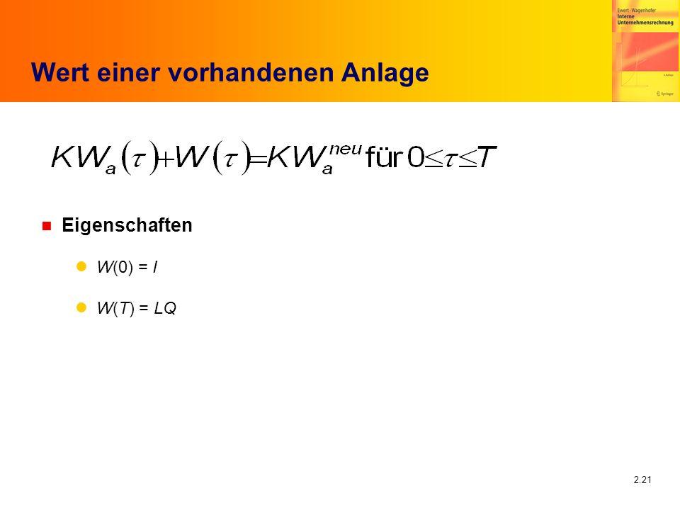 2.21 Wert einer vorhandenen Anlage n Eigenschaften W(0) = I W(T) = LQ