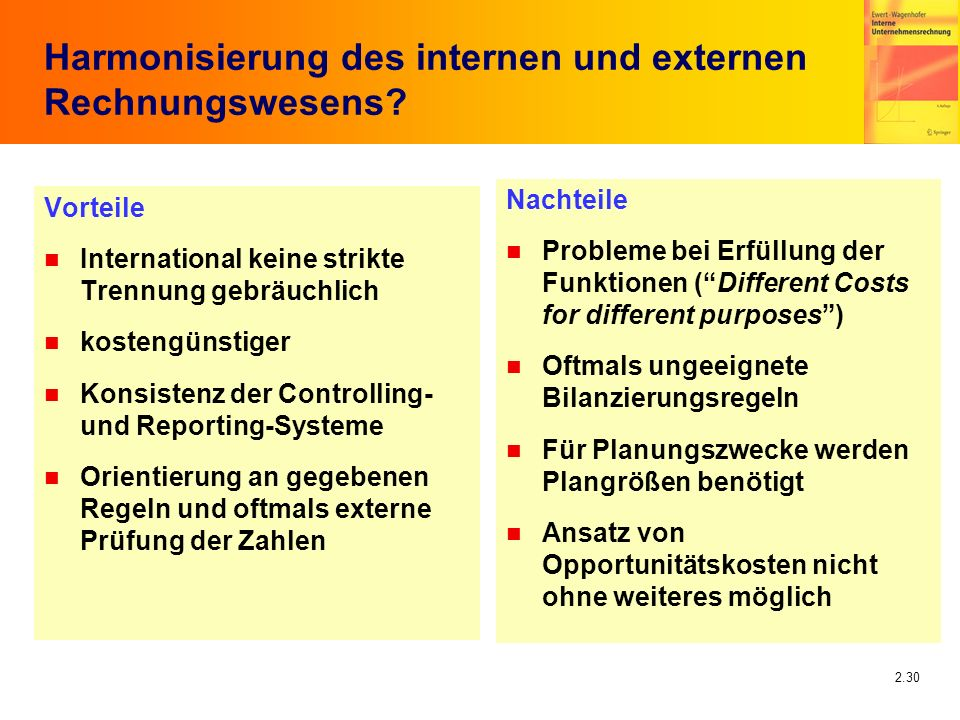 2.30 Harmonisierung des internen und externen Rechnungswesens? Vorteile n International keine strikte Trennung gebräuchlich n kostengünstiger n Konsis