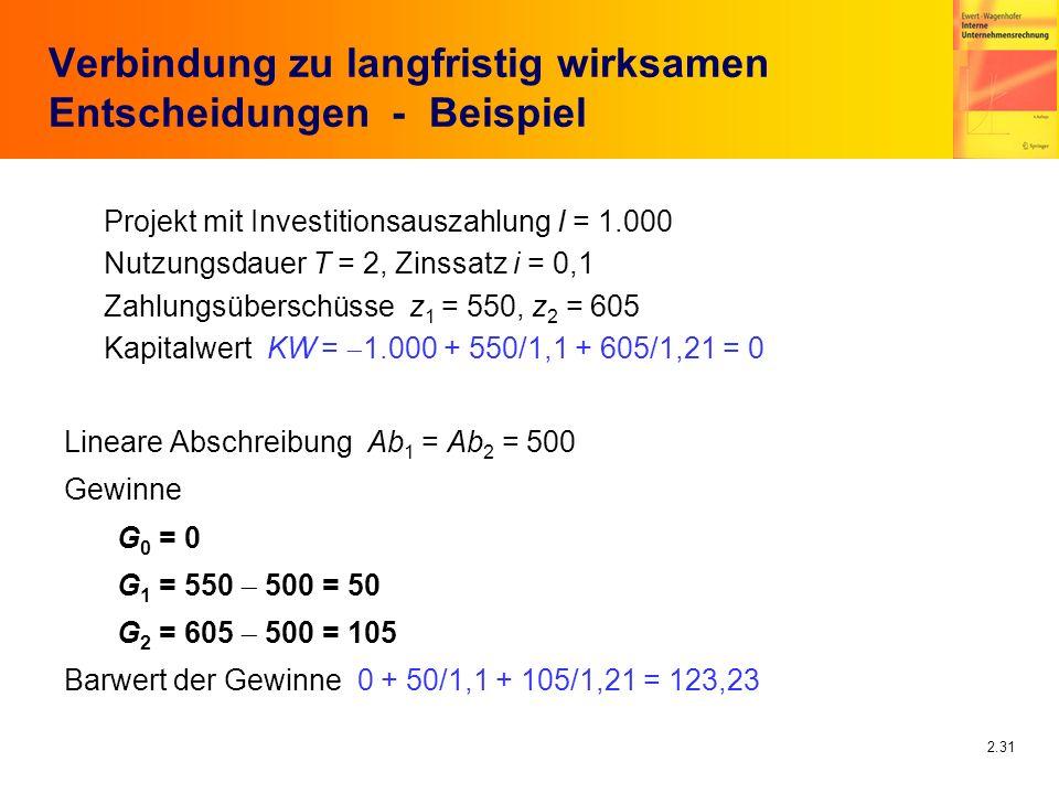 2.31 Verbindung zu langfristig wirksamen Entscheidungen - Beispiel Projekt mit Investitionsauszahlung I = 1.000 Nutzungsdauer T = 2, Zinssatz i = 0,1