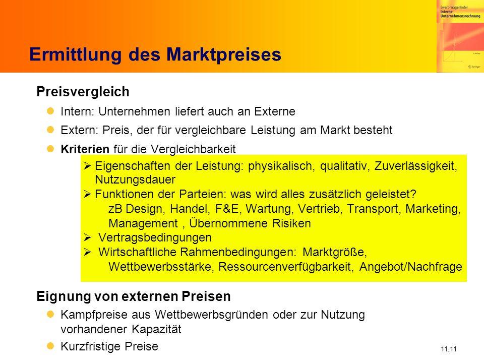 11.11 Preisvergleich Intern: Unternehmen liefert auch an Externe Extern: Preis, der für vergleichbare Leistung am Markt besteht Kriterien für die Verg