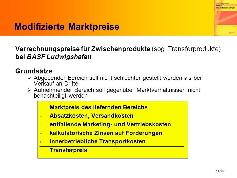 11.18 Modifizierte Marktpreise Verrechnungspreise für Zwischenprodukte (sog. Transferprodukte) bei BASF Ludwigshafen Grundsätze Abgebender Bereich sol