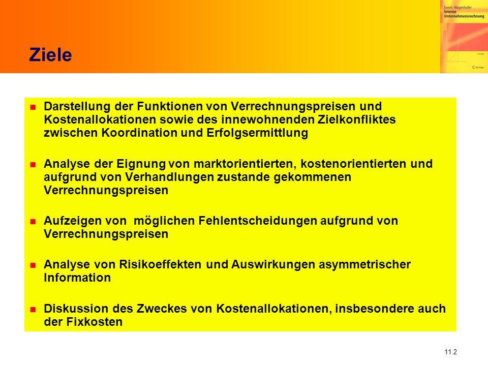 11.2 Ziele n Darstellung der Funktionen von Verrechnungspreisen und Kostenallokationen sowie des innewohnenden Zielkonfliktes zwischen Koordination un