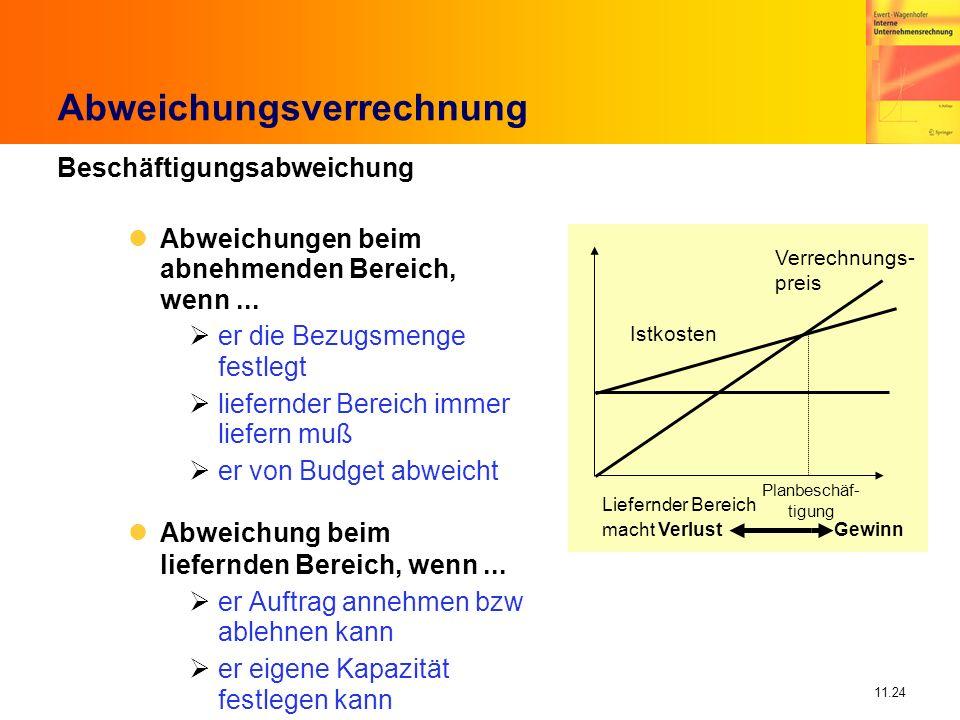 11.24 Abweichungsverrechnung Beschäftigungsabweichung Abweichungen beim abnehmenden Bereich, wenn... er die Bezugsmenge festlegt liefernder Bereich im