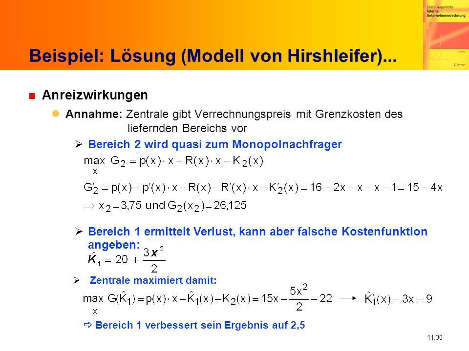 11.30 Beispiel: Lösung (Modell von Hirshleifer)... n Anreizwirkungen Annahme: Zentrale gibt Verrechnungspreis mit Grenzkosten des liefernden Bereichs