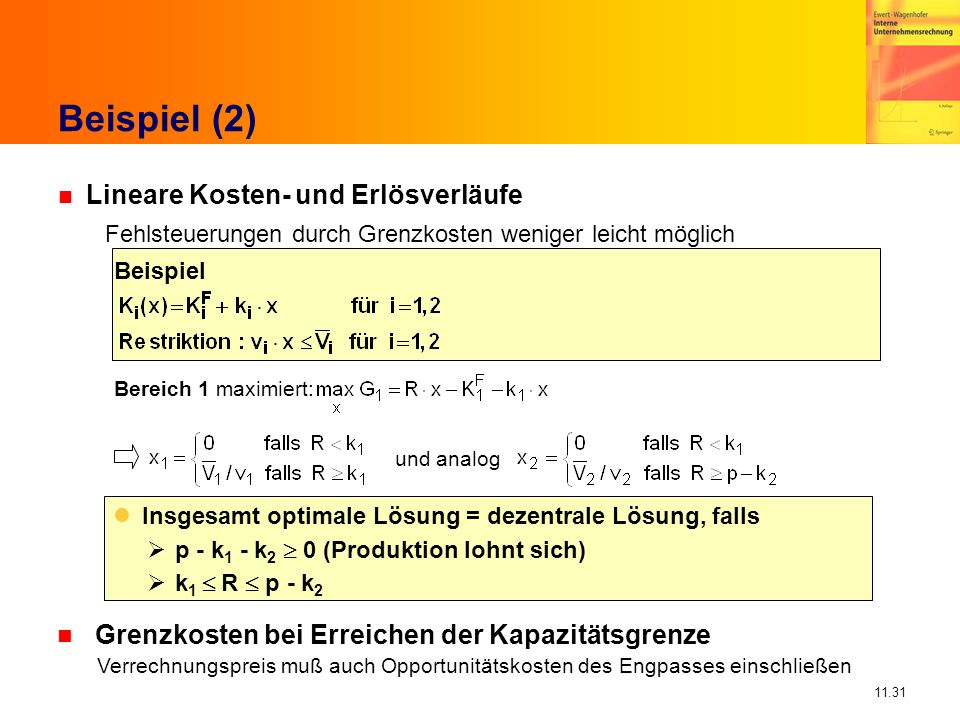 11.31 Beispiel (2) Bereich 1 maximiert: und analog Insgesamt optimale Lösung = dezentrale Lösung, falls p - k 1 - k 2 0 (Produktion lohnt sich) k 1 R