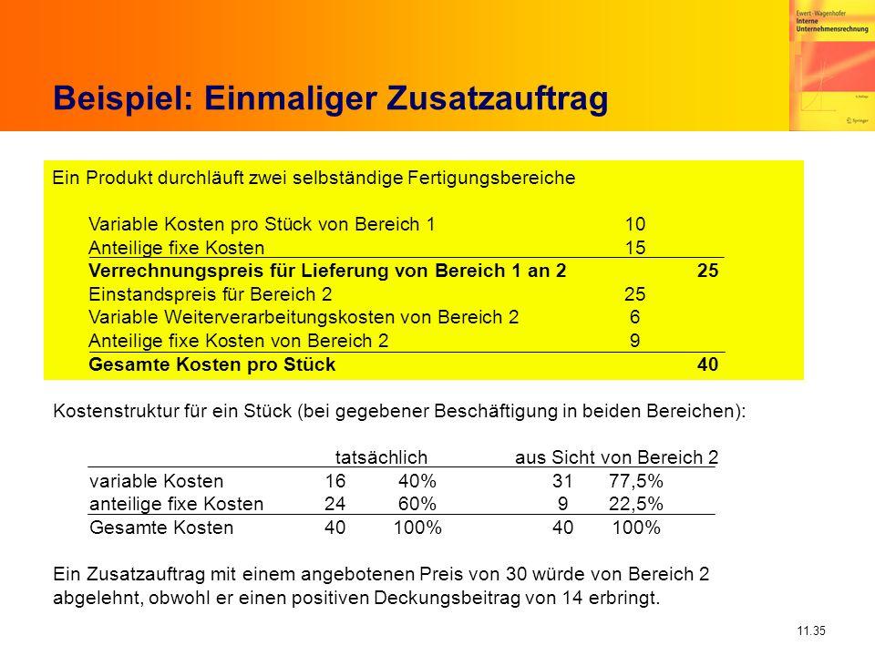 11.35 Beispiel: Einmaliger Zusatzauftrag Ein Produkt durchläuft zwei selbständige Fertigungsbereiche Variable Kosten pro Stück von Bereich 1 10 Anteil