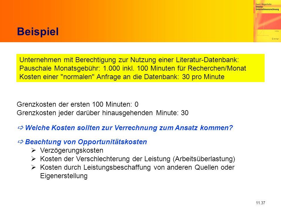 11.37 Beispiel Unternehmen mit Berechtigung zur Nutzung einer Literatur-Datenbank: Pauschale Monatsgebühr: 1.000 inkl. 100 Minuten für Recherchen/Mona