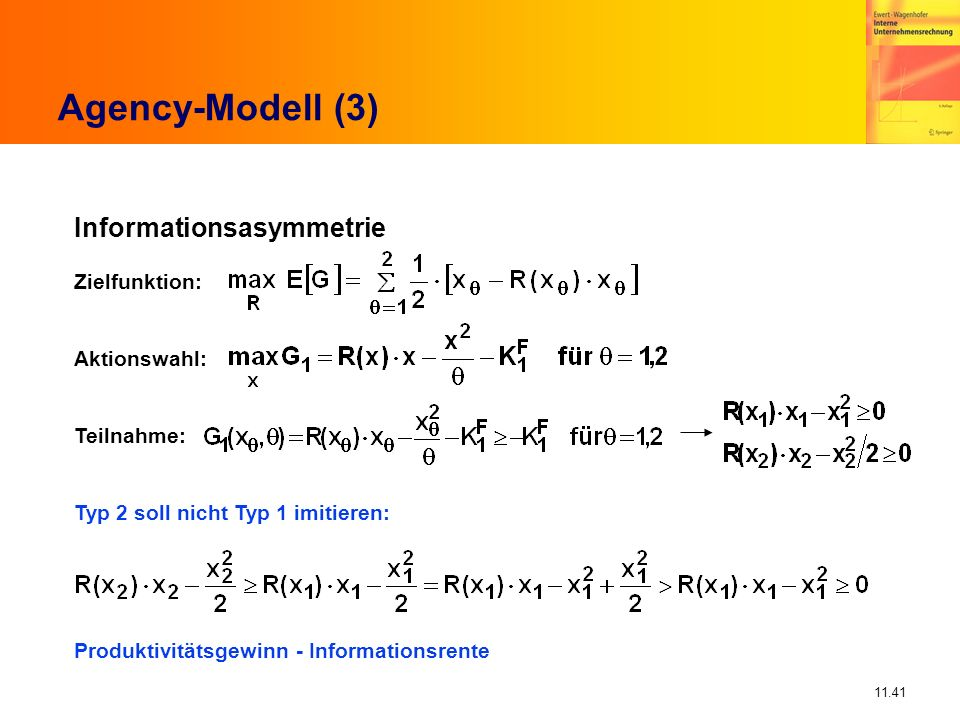 11.41 Agency-Modell (3) Informationsasymmetrie Zielfunktion: Aktionswahl: Teilnahme: Typ 2 soll nicht Typ 1 imitieren: Produktivitätsgewinn - Informat
