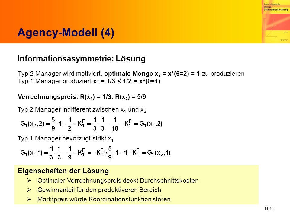 11.42 Agency-Modell (4) Typ 2 Manager wird motiviert, optimale Menge x 2 = x*( =2) = 1 zu produzieren Typ 1 Manager produziert x 1 = 1/3 < 1/2 = x*( =