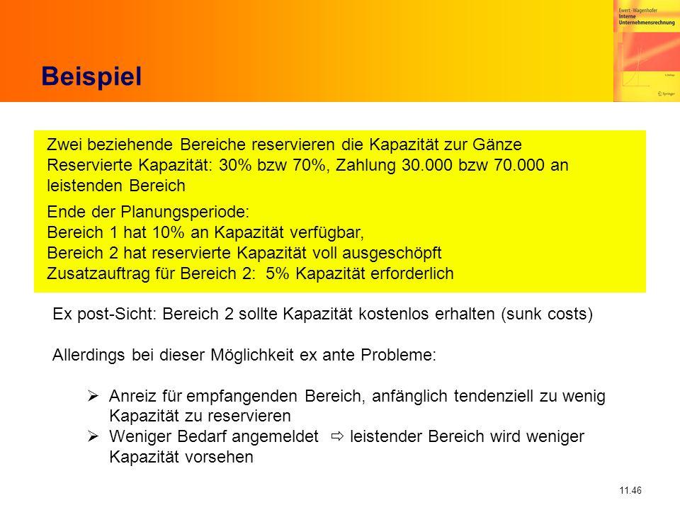 11.46 Beispiel Zwei beziehende Bereiche reservieren die Kapazität zur Gänze Reservierte Kapazität: 30% bzw 70%, Zahlung 30.000 bzw 70.000 an leistende