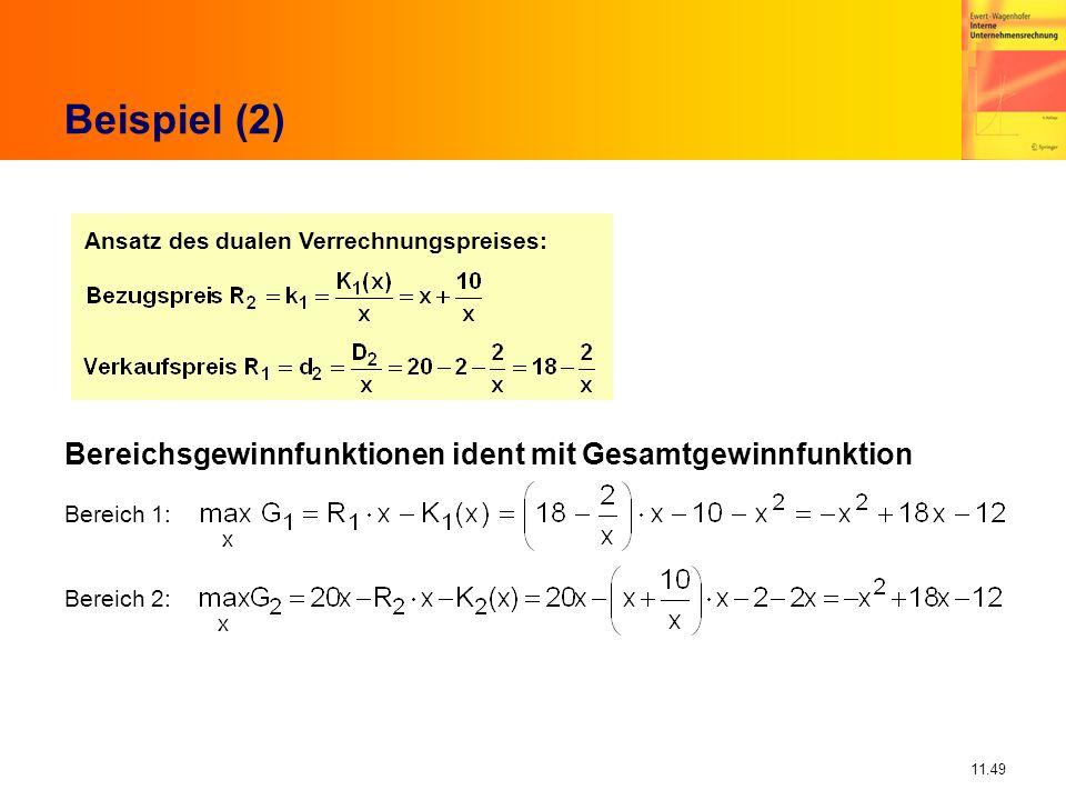 11.49 Beispiel (2) Ansatz des dualen Verrechnungspreises: Bereichsgewinnfunktionen ident mit Gesamtgewinnfunktion Bereich 1: Bereich 2: