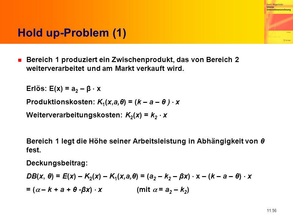 11.56 Hold up-Problem (1) n Bereich 1 produziert ein Zwischenprodukt, das von Bereich 2 weiterverarbeitet und am Markt verkauft wird. Erlös: E(x) = a