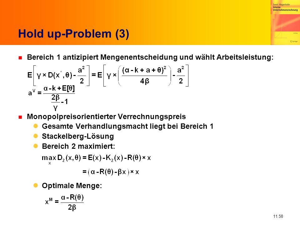 11.58 Hold up-Problem (3) n Bereich 1 antizipiert Mengenentscheidung und wählt Arbeitsleistung: n Monopolpreisorientierter Verrechnungspreis Gesamte V