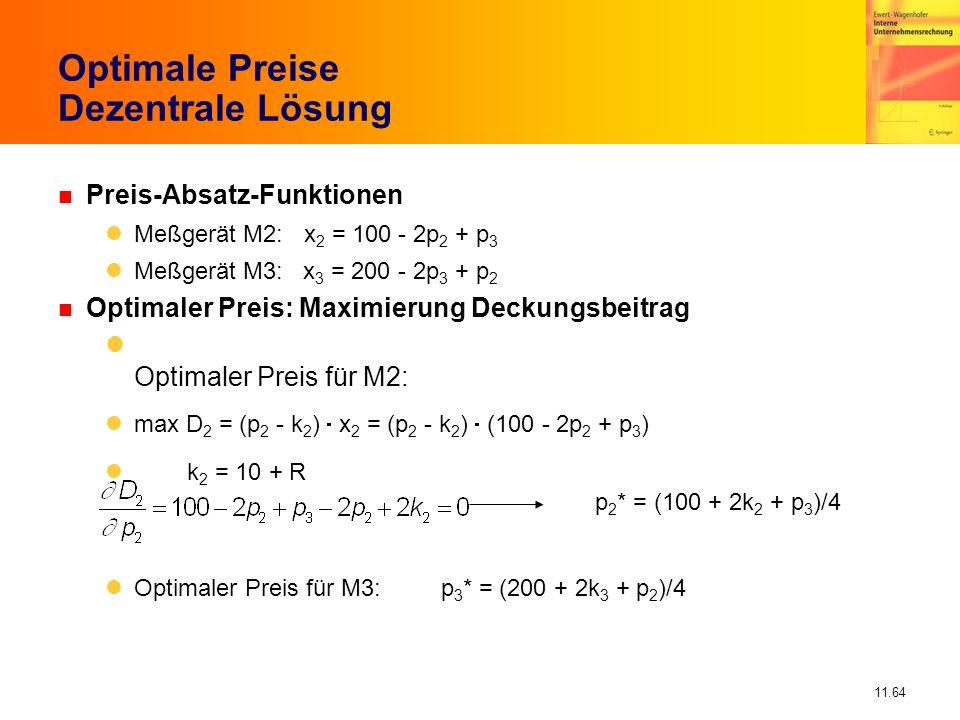 11.64 Optimale Preise Dezentrale Lösung n Preis-Absatz-Funktionen Meßgerät M2: x 2 = 100 - 2p 2 + p 3 Meßgerät M3: x 3 = 200 - 2p 3 + p 2 n Optimaler