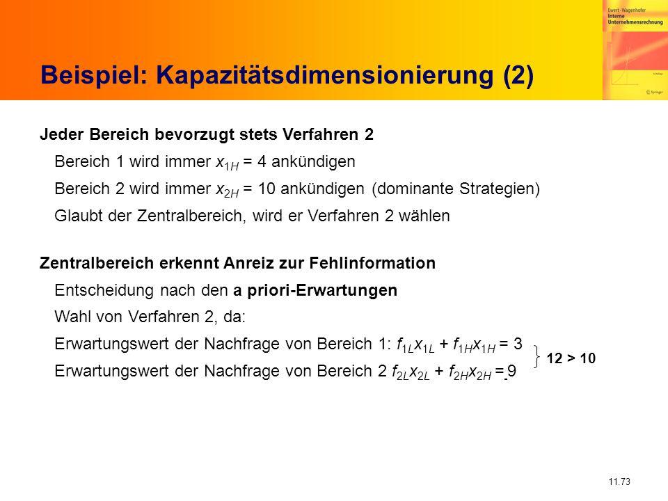 11.73 Beispiel: Kapazitätsdimensionierung (2) Jeder Bereich bevorzugt stets Verfahren 2 Bereich 1 wird immer x 1H = 4 ankündigen Bereich 2 wird immer