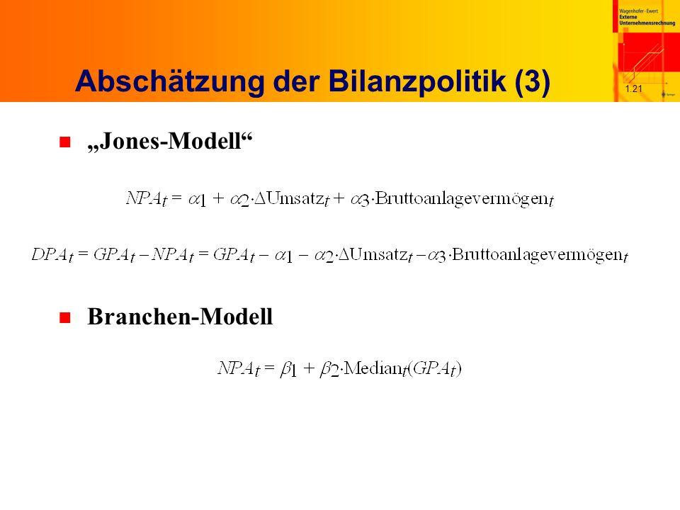 1.21 Abschätzung der Bilanzpolitik (3) n Jones-Modell n Branchen-Modell
