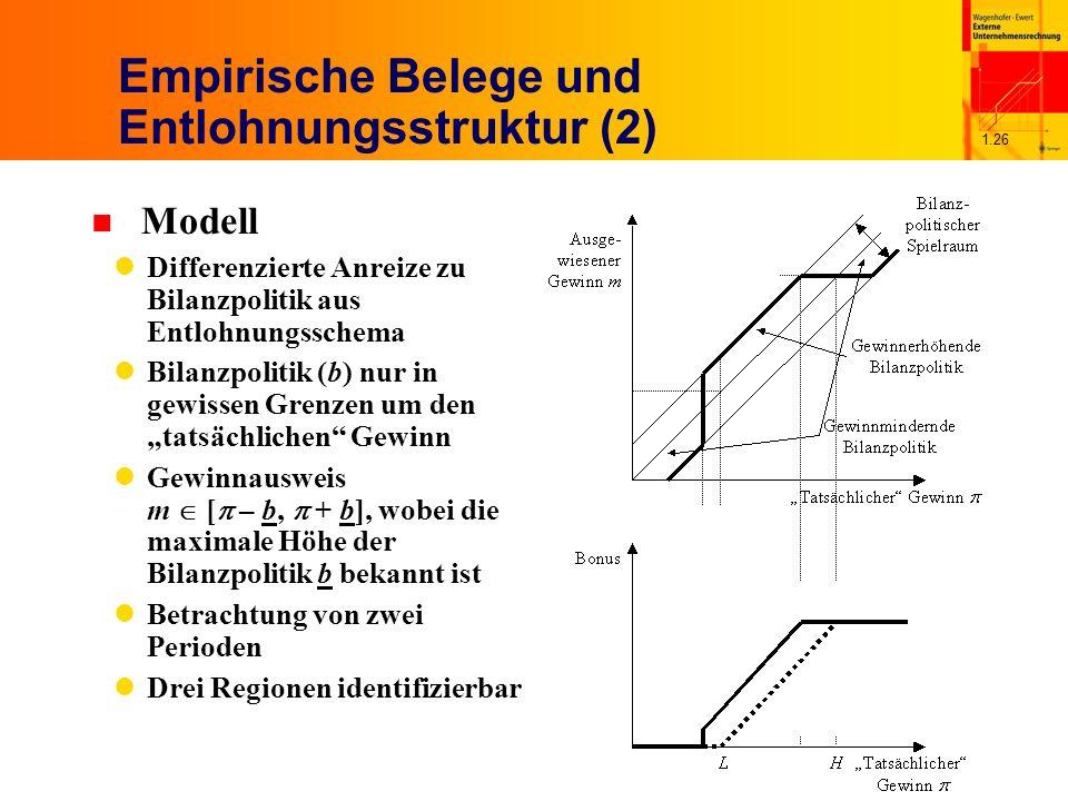 1.26 Empirische Belege und Entlohnungsstruktur (2) n Modell Differenzierte Anreize zu Bilanzpolitik aus Entlohnungsschema Bilanzpolitik (b) nur in gewissen Grenzen um den tatsächlichen Gewinn Gewinnausweis m [ – b, + b], wobei die maximale Höhe der Bilanzpolitik b bekannt ist Betrachtung von zwei Perioden Drei Regionen identifizierbar