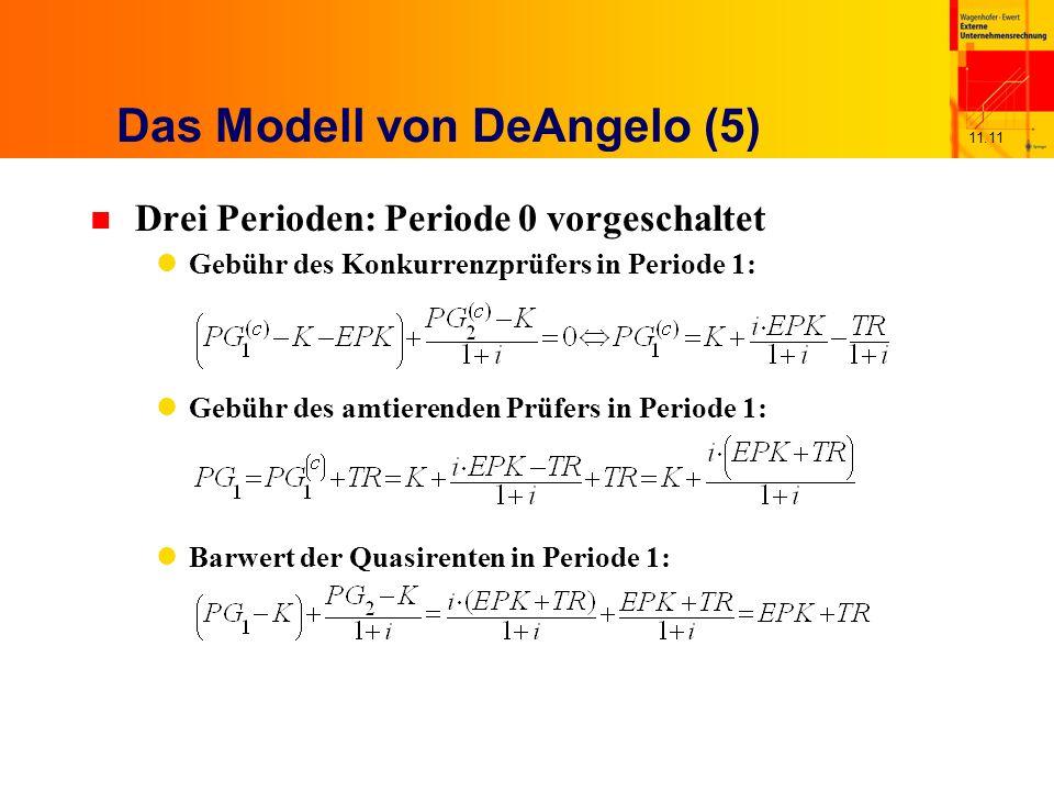 11.11 Das Modell von DeAngelo (5) n Drei Perioden: Periode 0 vorgeschaltet Gebühr des Konkurrenzprüfers in Periode 1: Gebühr des amtierenden Prüfers in Periode 1: Barwert der Quasirenten in Periode 1: