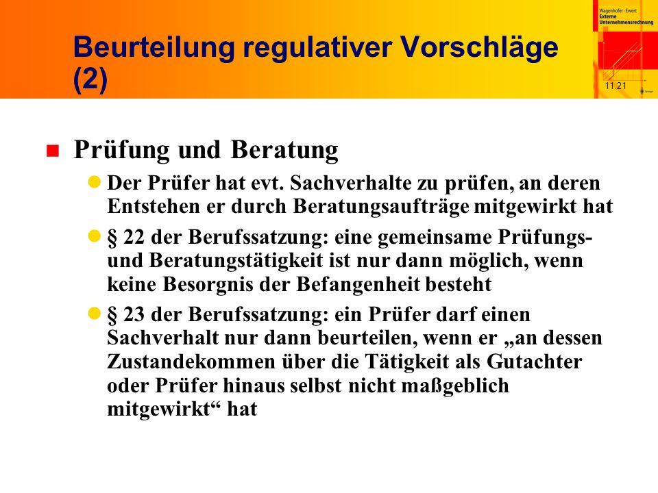 11.21 Beurteilung regulativer Vorschläge (2) n Prüfung und Beratung Der Prüfer hat evt.