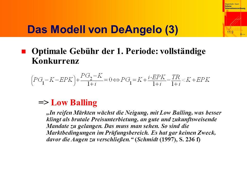 11.9 Das Modell von DeAngelo (3) n Optimale Gebühr der 1.