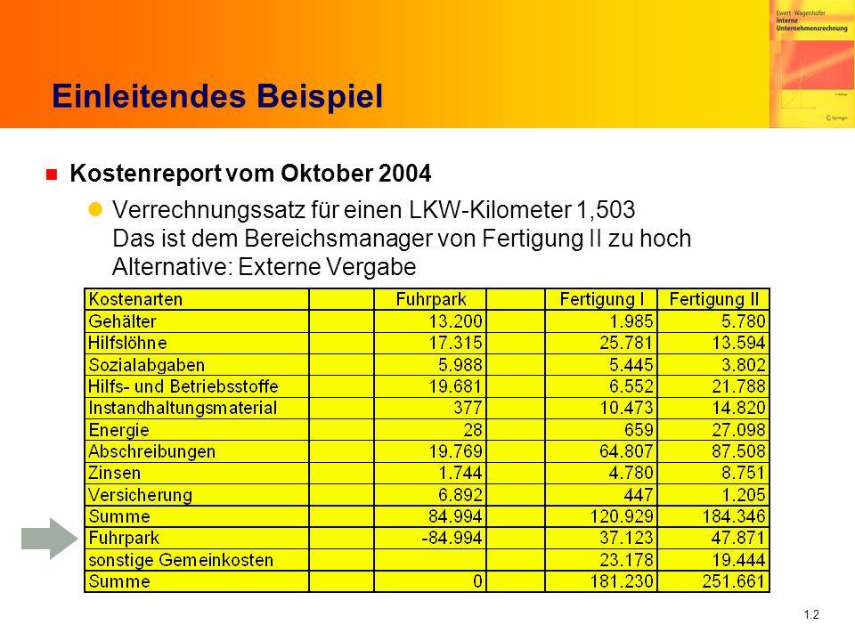 1.3 Einleitendes Beispiel (2) n Ursache: Verteilung der LKW-Kosten auf Basis von gefahrenen Kilometern Gesamt: 56.556 km -- Fertigung I 24.702 Fertigung II 31.854 n Vorschlag: Viel verursachungsgerechter ist doch Basis von gefahrenen Stunden Gesamt 1502 Stunden -- Fertigung I 854 Stunden Fertigung II 648 Stunden n Dagegen ist nun aber wieder Bereichsmanager Fertigung I Argument: Wieso überhaupt Verteilung sämtlicher LKW-Kosten.